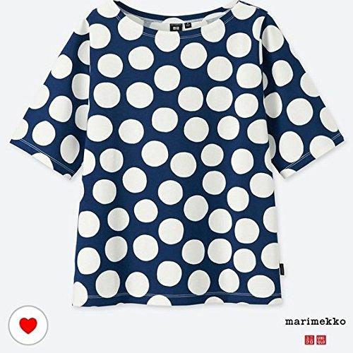 XXL ユニクロ マリメッコ グラフィックT Tシャツ ネイビー×白 ドット uniqlo marimekko オンライン 水玉の商品画像