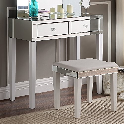 Inspired Home Juliet Modern Contemporary Mirrored 2-Drawer Vanity Table with Stool Set, White by Inspired Home