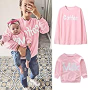 Franterd Mommy&Me Girls Women Parent-Child Milk Coffee Print Sweatshirt Pullover Family Matching Tops Outfits (Mom, L)