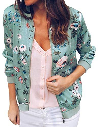 Women Casual Retro Stand Collar Zipper Up Short Hem Bomber Jacket Coat Floral Printed Outwear Tops Green S