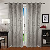 "Comforhome Sanding Solid Blackout Window Curtain, Grommets Drapes Grey 52 x 72"" (1 Panel)"