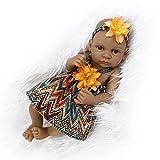Nicery Reborn Baby Bathe Doll Indian Style Black Skin Hard Simulation Silicone Vinyl 10inch 26cm Waterproof Toy Orange Girl
