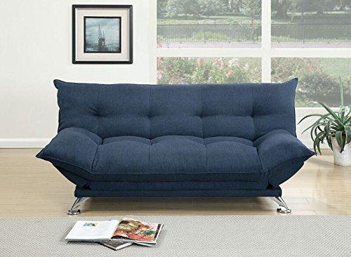 Poundex Ale Navy Polyfiber Adjustable Sofa Bed w/Flip Up Arm