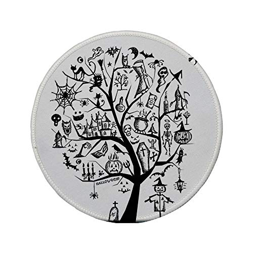 Non-Slip Rubber Round Mouse Pad,Halloween Decorations,Sketchy Spooky Tree with Spooky Decor Objects and Wicked Witch Broom,Black White,7.87