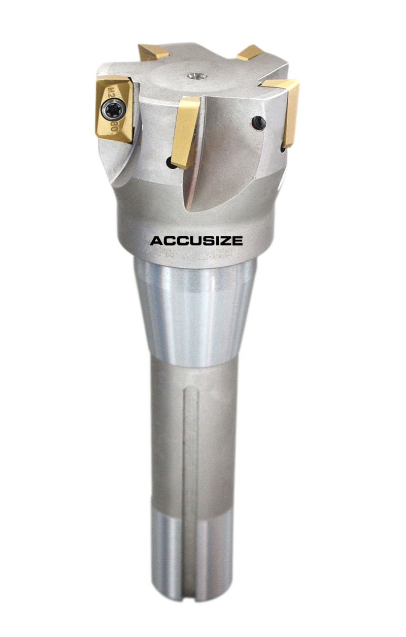 0028-6906+6908 Accusize Industrial Tools 2 by 6-1//8 and 3 by 6-1//4 90 Degree R8 Shank Indexable End Mills with Apkt1604 Carbide Inserts