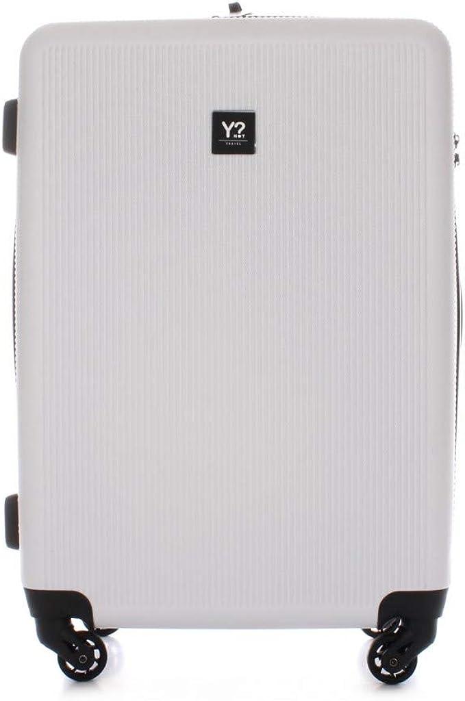 Trolley YNot stripes hard M size spinner L-11002 bianco