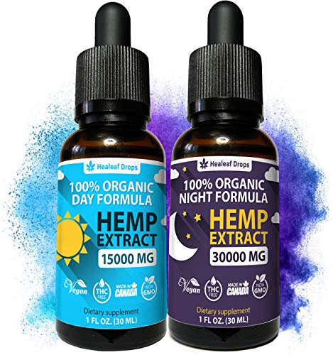 2-Pack-Hemp-Oil-Extract-for-Pain-Anxiety-Stress-Relief-New-Day-Night-Formula-15000mg-30000mg-100-Organic-Hemp-Extract-for-Depression-and-Inflammation-Reduction-Grown-Made-in-USA