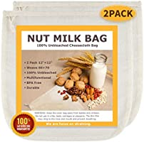 """Nut Milk Bags, All Natural Cheesecloth Bags, 12""""x12"""", 2 Pack, 100% Unbleached Cotton Cloth Bags for..."""