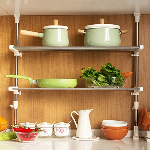 (WENZHE Kitchen Storage Rack Spice Cooker Shelf Adjustable Landing Stainless Steel Free Drilling Multifunction, 2 Models (Color : A-75cm))
