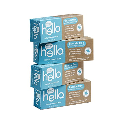 Hello Oral Care Fluoride Free Whitening Toothpaste with No Artificial Sweeteners or SLS, Sweet Mint, 4 ()