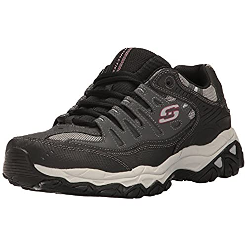 Skechers Sport Men's Afterburn Memory Foam Lace-Up Sneaker,Charcoal/Black,11  4E US