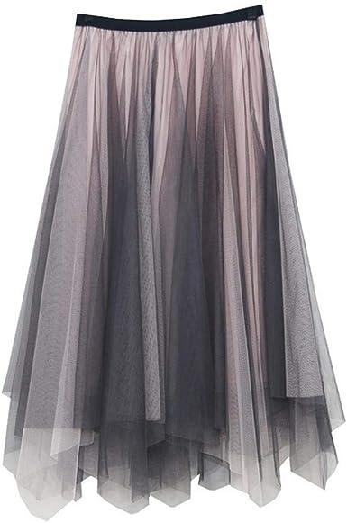 VJGOAL Moda Casual de Mujer Color sólido Tulle Vintage Falda ...