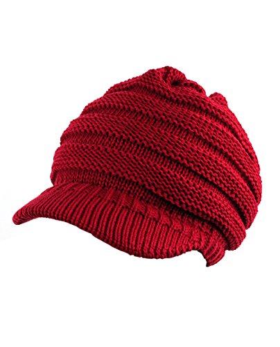 le Knitted Brim Visor Beanie Cap, Red ()