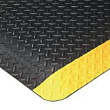 American Floor Mats UltraSoft Diamond Plate Yellow Safety Border 6' x 10' Anti-Fatigue 15/16 inch Thickness Comfort Mat
