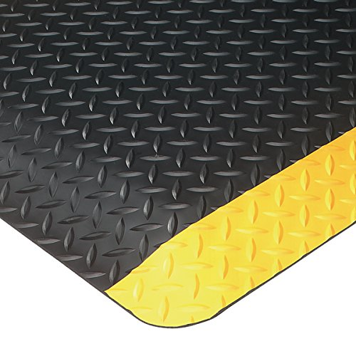American Floor Mats UltraSoft Diamond Plate Yellow Safety Border 3' x 6' Anti-Fatigue 15/16 inch Thickness Comfort Mat by American Floor Mats