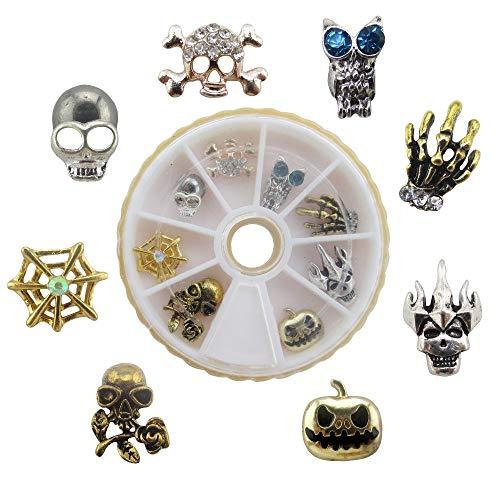 Kamas 8pcs/wheel Hot Halloween part nail art decoration skull spider web pumpkin charms wheel set YX152 -