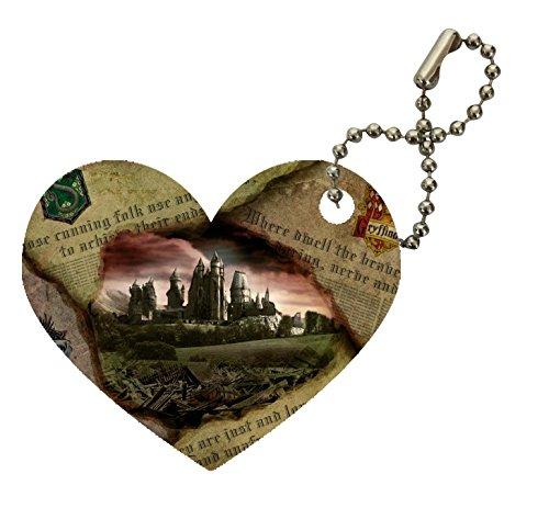 Gryffindor Slytherin Ravenclaw Hufflepuff Newspaper Hogwarts Castle Design Print Image Heart Keychain by Trendy Accessories
