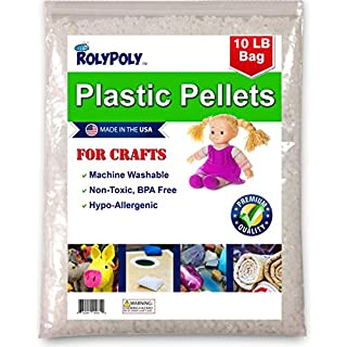 Poly Plastic Pellets (10 LBS) for Weighted Blankets, Crafts, Dolls, Toys, Lap Pads, Bean Bags, I-Spy Bags, Rock Tumbler, Rifle Bags, Non-Toxic, Machine Washable/Dryable