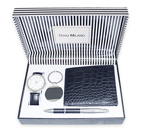 (Gino Milano Men's Black Leather Band and Blue Dial Watch with Keychain, Wallet, and Pen Gift Set)