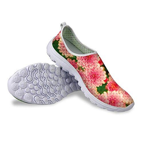 Pour U Conceptions Élégant Motif Floral Décontracté Maille Confortable Femmes Marchant Chaussures De Course Rose B