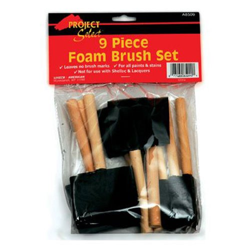 Linzer A-8509 Foam Brushes, For All Paints & Stains, (9-Pack)