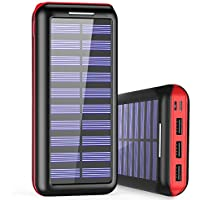 Solar Charger WOOYHN 24000mAh Battery Pack High Capacity Solar Power Bank with USB and 3 USB Port External Portable Charger for iPhone, iPad, Samsung, HTC, and other Tablet (Black-Red)