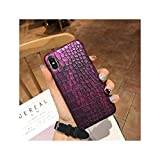 3D Faux Crocodile Phone Case for iPhone 7 8 Plus Xr Xs Max 6 6S Plus X 10 Pcs Pu Leather Back Cover Shell,for Iphonexs Max,Purple -  NEVERLAND003