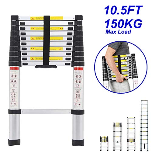 DICN Telescoping Ladder 10.5ft 3.2M 330LB Capacity Aluminum Light Weight Folding Extendable 11 Steps Compact Size Portable for Indoor Outdoor Decoration Roof Work RV Camper ()
