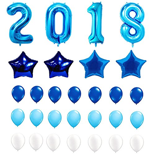 2018 BALLOONS, 29 Pack Blue White Stars 2018 Numbers Latex Balloons Set Large Size for Graduation Banner Decorations New Years Eve Party Supplies (White and -