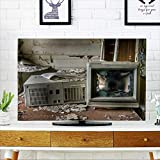 PRUNUS Protect Your TV Image of an Old,Vintage Destroyed Computer in a Derelict Abandoned Police Protect Your TV W32 x H51 INCH/TV 55''