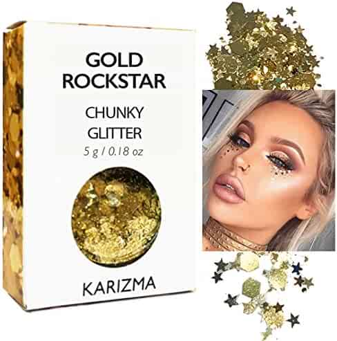 Gold Rockstar Chunky Glitter ✮ COSMETIC GLITTER KARIZMA ✮ Festival Beauty Makeup Face Body Hair Nails
