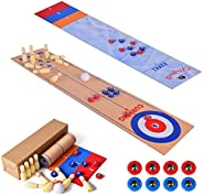 2020 Newest Shuffleboard, Curling Game and Bowling 3 in 1 Table Top Board Game with 8 Rollers,Portable Family