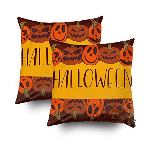 ROOLAYS Decorative Throw Square Pillow Case Cover 16X16Inch,Cotton Cushion Covers Halloween Party Invitation Design Both Sides Printing Invisible Zipper Home Sofa Decor Sets 2 PCS Pillowcase