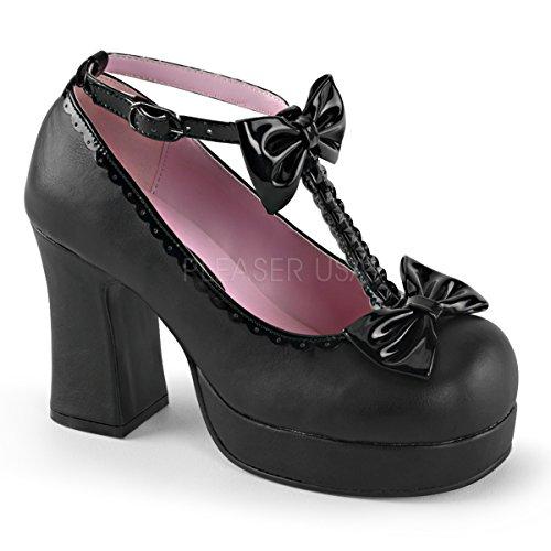 Higher-Heels Demonia Damen Vegan T-Strap Platforms Gothika-04 Lack - mattschwarz