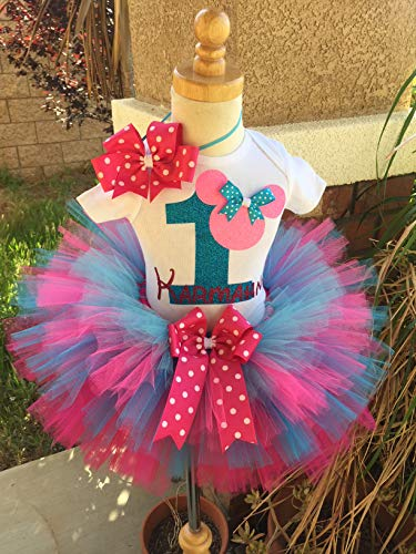 Minnie Mouse Birthday Outfit Tutu Set Dress Shirt ANY AGE Pinks and Blues -