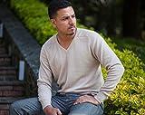 Men's 100% Cashmere Sweater, Hand-Knitted, V-Neck, 26/2 Mongolian Yarn, Begie © Moksha Cashmere