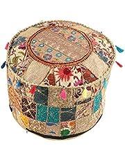 NANDNANDINI - Mooie handgemaakte kerst decoratieve Indiase Vintage Ottomaanse Poef Cover,Patchwork Ottoman, woonkamer Patchwork voetkrukhoes, decoratieve handgemaakte Home Chair Cover
