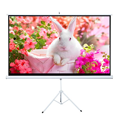Projector Screen, Auledio Portable 100' Diagonal 16:9 HD Manual Pull Down Video Projection Screens with Tripod Stand - Suitable for HDTV / Sports / Movies / Presentations