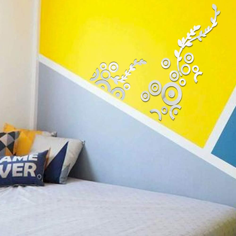 2pcs Pegatinas Pared Espejo Vinilos Decorativas Adhesivos Flores Dondiego DIY Hogar Sal/ón Habitaci/ón Dormitorio Ba/ño