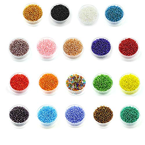 Multicolor Beading Glass Seed Beads- 2mm Round Beads (800pcs/box 19 colors Approx 15200pcs) Mini Beads for DIY Bracelets,Necklaces,Earrings, Key Chains and Kid Jewelry -