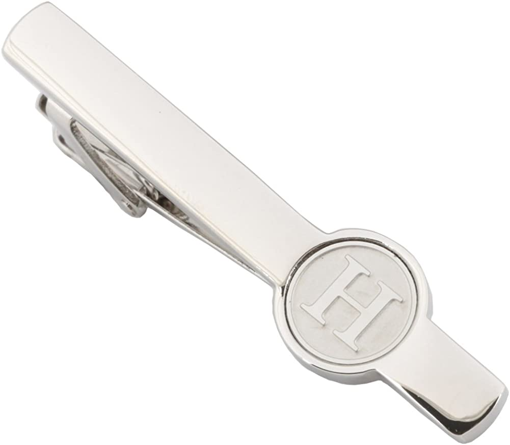 Dannyshi Men Tie Clip 2.1 Inch Silver Plated Stainless 26 Letters A-Z + Gift Box