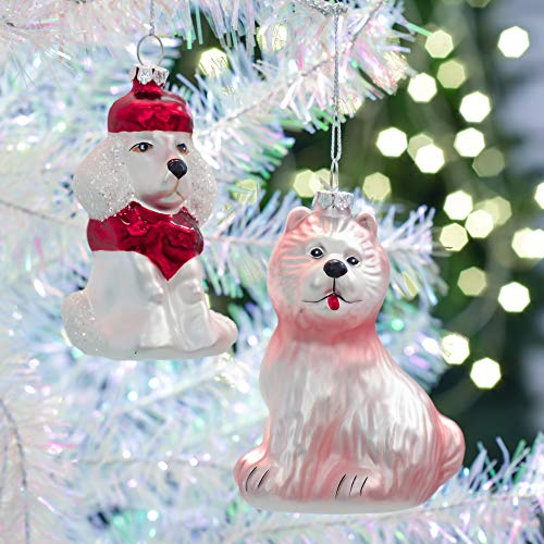 Teresa's Collections 2ct Traditional Glass Blown Christmas Poodle Ornaments Red and White, 3.54inch-3.94inch,Themed with Tree Skirt(Not Included)