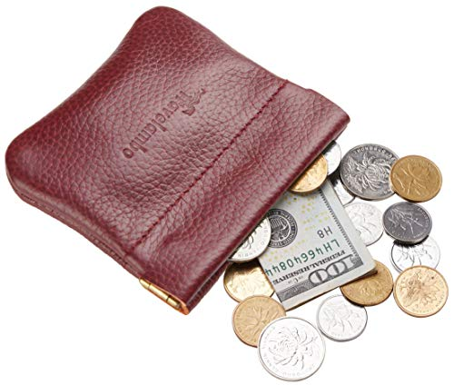 - Travelambo Leather Squeeze Coin Purse Pouch Change Holder For Men & Women (Pebble Red Deep)