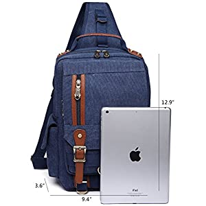 Men Messenger Bag Kaukko Canvas Sling Backpack Cross Body Shoulder Bag Travel Rucksack(Blue)