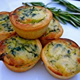 Quiche Florentine - Gourmet Frozen Appetizers (40 Piece Tray) - A tasty blend of fresh Spinach, Cheese and Cream.