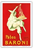 "Pates Baroni (Noodles), Societé Baroni, Bordeaux, France; Belle Époque, Art Nouveau, Art Deco; Vintage French advertising poster; ""Les Maitres de l'Affiche"" by Leonetto Cappiello c.1910 - Master Art Print - 12in x 18in"
