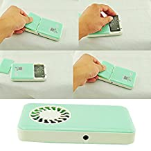 Icarekit Portable Handheld USB Mini Travel Air Conditioner Cooler Cooling Fan W/ Rechargeable Battery (Cyan)