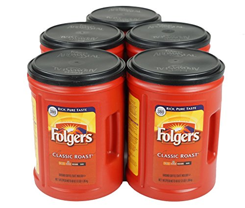 Folgers Classic Medium Roast Coffee, 5-Pack of 48 Ounce Cans ()