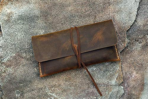 Personalized Distressed Leather Pencil Pouch/Retro Leather Pen Pencil case/Small Cosmetic Bag PP05SS (Distressed Leather Kids)