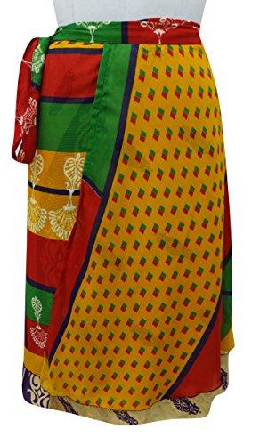 Falda Floral Mágico Wrap Georgette Reversible Cabestro Sarong Ocre amarillo y rojo